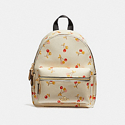 MINI CHARLIE BACKPACK WITH CHERRY PRINT - CHALK MULTI/LIGHT GOLD - COACH F31374