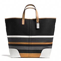 COACH HADLEY MULTI STRIPE LARGE DUFFLE - SILVER/BLACK MULTI - F31382