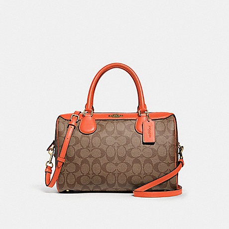 COACH LARGE BENNETT SATCHEL IN SIGNATURE CANVAS - KHAKI/NEON ORANGE/LIGHT GOLD - F31383