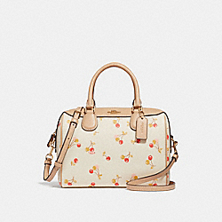 MINI BENNETT SATCHEL WITH CHERRY PRINT - CHALK MULTI/LIGHT GOLD - COACH F31388