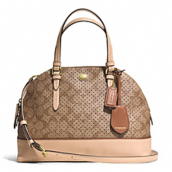 COACH PEYTON PERFORATED PVC CORA DOMED SATCHEL - BRASS/KHAKI/TAN - F31401
