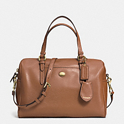 COACH PEYTON LEATHER NANCY SATCHEL - BRASS/SADDLE - F31403