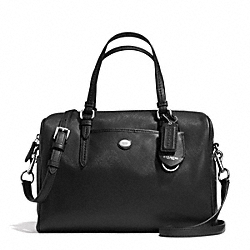 PEYTON LEATHER NANCY SATCHEL - f31403 - SILVER/BLACK