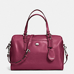 COACH PEYTON LEATHER NANCY SATCHEL - SILVER/MERLOT - F31403