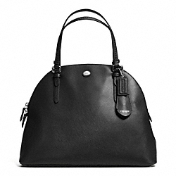 PEYTON LEATHER LARGE DOMED SATCHEL - f31408 - SILVER/BLACK