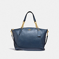 SMALL KELSEY CHAIN SATCHEL - METALLIC DENIM/LIGHT GOLD - COACH F31409