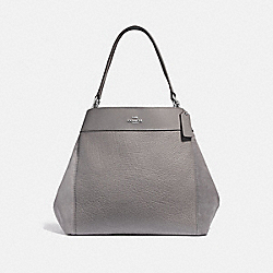 LARGE LEXY SHOULDER BAG - HEATHER GREY/SILVER - COACH F31415