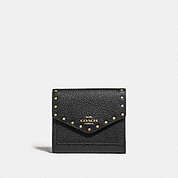 SMALL WALLET WITH RIVETS - BLACK/BRASS - COACH F31425