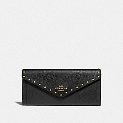 SOFT WALLET WITH RIVETS - BLACK/BRASS - COACH F31426