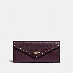SOFT WALLET WITH RIVETS - B4/OXBLOOD - COACH F31426