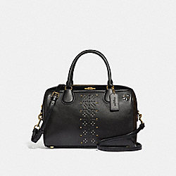 LARGE BENNETT SATCHEL IN SIGNATURE CANVAS WITH RIVETS - BROWN BLACK/MULTI/LIGHT GOLD - COACH F31429