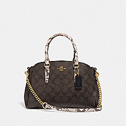 MINI SAGE CARRYALL IN SIGNATURE CANVAS - BROWN BLACK/MULTI/LIGHT GOLD - COACH F31436