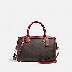 LARGE BENNETT SATCHEL IN COLORBLOCK SIGNATURE CANVAS - KHAKI/BROWN MULTI/LIGHT GOLD - COACH F31448