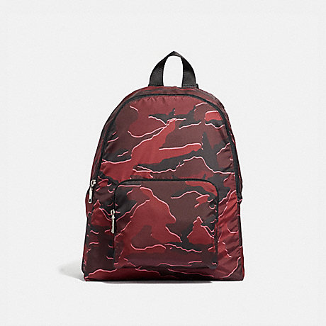COACH PACKABLE BACKPACK WITH WILD CAMO PRINT - BURGUNDY MULTI/SILVER - F31450