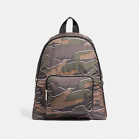 COACH PACKABLE BACKPACK WITH WILD CAMO PRINT - GREEN MULTI/SILVER - F31450