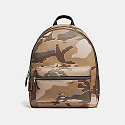 COACH MEDIUM CHARLIE BACKPACK WITH WILD CAMO PRINT - KHAKI MULTI /SILVER - F31452