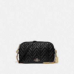 COACH ISLA CHAIN CROSSBODY WITH QUILTING - BLACK/LIGHT GOLD - F31459