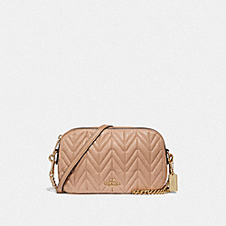 COACH ISLA CHAIN CROSSBODY WITH QUILTING - BEECHWOOD/LIGHT GOLD - F31459