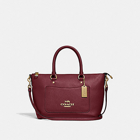 COACH MINI EMMA SATCHEL - WINE/IMITATION GOLD - F31466