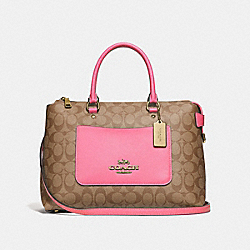 EMMA SATCHEL IN SIGNATURE CANVAS - KHAKI/PINK RUBY/GOLD - COACH F31468