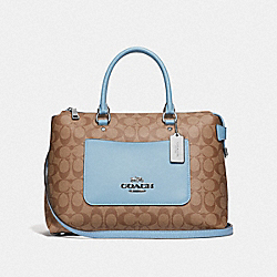 EMMA SATCHEL IN SIGNATURE CANVAS - KHAKI/CORNFLOWER/SILVER - COACH F31468