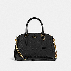 MINI SAGE CARRYALL IN SIGNATURE LEATHER - BLACK/BLACK/LIGHT GOLD - COACH F31485