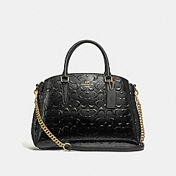 SAGE CARRYALL IN SIGNATURE LEATHER - BLACK/BLACK/LIGHT GOLD - COACH F31486