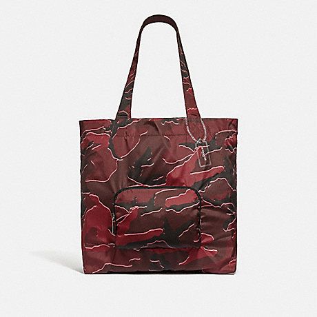 COACH PACKABLE TOTE WITH WILD CAMO PRINT - BURGUNDY MULTI/SILVER - F31488
