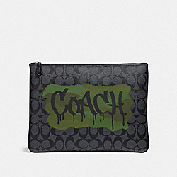 LARGE POUCH IN SIGNATURE CANVAS WITH GRAFFITI - CHARCOAL/BLACK/BLACK ANTIQUE NICKEL - COACH F31515