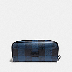 COACH DOUBLE ZIP DOPP KIT WITH BUFFALO CHECK PRINT - BLUE MULTI/BLACK ANTIQUE NICKEL - F31517