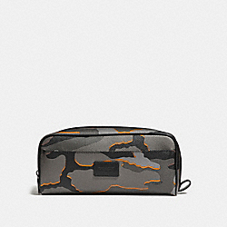 COACH DOUBLE ZIP DOPP KIT WITH CAMO PRINT - ANTIQUE NICKEL/GREY MULTI - F31518