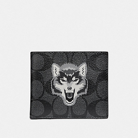 COACH DOUBLE BILLFOLD WALLET IN SIGNATURE CANVAS WITH WOLF MOTIF - BLACK/BLACK ANTIQUE NICKEL - F31522