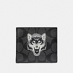 DOUBLE BILLFOLD WALLET IN SIGNATURE CANVAS WITH WOLF MOTIF - BLACK/BLACK ANTIQUE NICKEL - COACH F31522