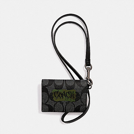 COACH ID CARD CASE LANYARD IN SIGNATURE CANVAS WITH GRAFFITI - CHARCOAL/BLACK/BLACK ANTIQUE NICKEL - F31527