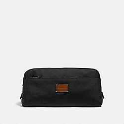 COACH DOUBLE ZIP DOPP KIT IN CORDURA - ANTIQUE NICKEL/BLACK - F31545