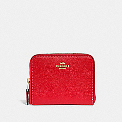 SMALL ZIP AROUND WALLET WITH CHERRY PRINT INTERIOR - BRIGHT RED MULTI/LIGHT GOLD - COACH F31553