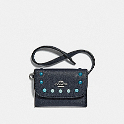 COACH CARD POUCH WITH RAINBOW RIVETS - MIDNIGHT NAVY/SILVER - F31554
