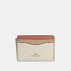 COACH CARD CASE IN COLORBLOCK - CHALK/LIGHT GOLD - F31555