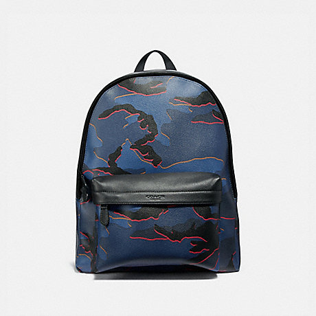 COACH CHARLES BACKPACK WITH CAMO PRINT - BLUE MULTI/BLACK ANTIQUE NICKEL - F31557