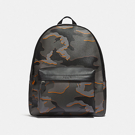 COACH CHARLES BACKPACK WITH CAMO PRINT - GREY MULTI/BLACK ANTIQUE NICKEL - F31557