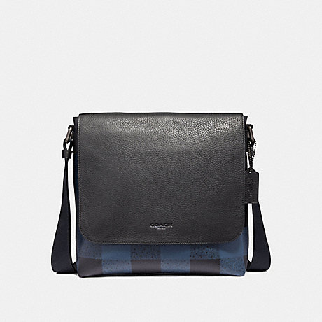 COACH CHARLE SMALL MESSENGER WITH BUFFALO CHECK PRINT - BLUE MULTI/BLACK ANTIQUE NICKEL - F31558
