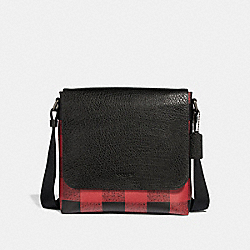 COACH CHARLE SMALL MESSENGER WITH BUFFALO CHECK PRINT - RED MULTI/BLACK ANTIQUE NICKEL - F31558