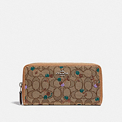 ACCORDION ZIP WALLET IN SIGNATURE JACQUARD WITH CHERRY PRINT - KHAKI MULTI /SILVER - COACH F31563