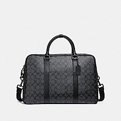 OVERNIGHT BAG IN SIGNATURE CANVAS - CHARCOAL/BLACK - COACH F31564