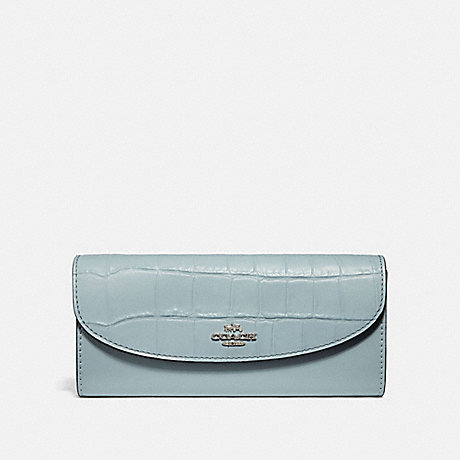 COACH SLIM ENVELOPE WALLET - PALE BLUE/SILVER - F31565