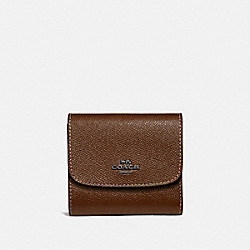 SMALL WALLET WITH RAINBOW STITCHING - DARK SADDLE/BLACK ANTIQUE NICKEL - COACH F31570