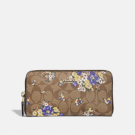 COACH ACCORDION ZIP WALLET IN SIGNATURE CANVAS WITH MEDLEY BOUQUET PRINT - KHAKI MULTI /LIGHT GOLD - F31572