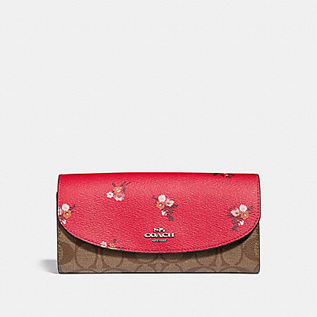 COACH SLIM ENVELOPE WALLET IN SIGNATURE CANVAS AND BABY BOUQUET PRINT - BRIGHT RED MULTI /SILVER - F31573