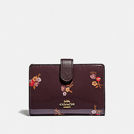 COACH MEDIUM CORNER ZIP WALLET WITH BABY BOUQUET PRINT - OXBLOOD MULTI/LIGHT GOLD - F31578