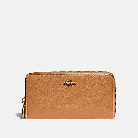 COACH ACCORDION ZIP WALLET - LIGHT SADDLE/OLD BRASS - F31583